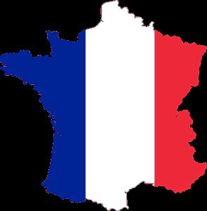 Geografisk kort over Frankrig, med fransk flag