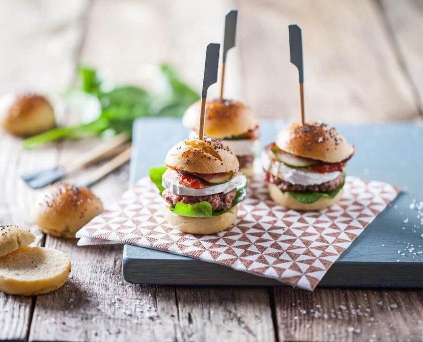 Mini-burger (sliders) med gedeost