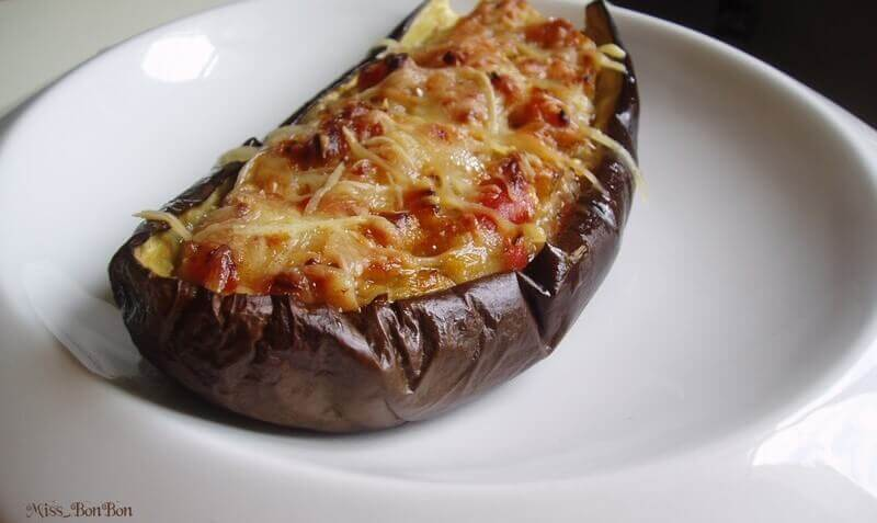 Fyldte auberginer vegetariske med gedeost